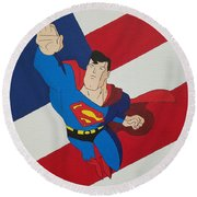 Superman And The Flag Round Beach Towel