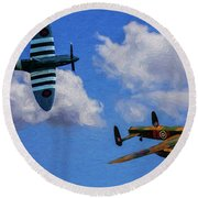 Supermarine Spitfire Mk1 And Avro Lancaster - Oil Round Beach Towel