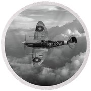 Supermarine Spitfire Vb Black And White Version Round Beach Towel