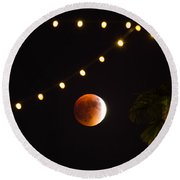 Supermoon And Twinkle Lights Round Beach Towel