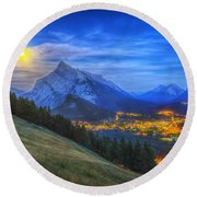 Supermoon Rising Over Mount Rundle Round Beach Towel