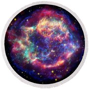 Supernova Remnant Cassiopeia A Round Beach Towel by Stocktrek Images