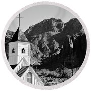 Superstition Mountain And Elvis Church Round Beach Towel