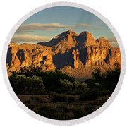 Superstitions At Sunset  Round Beach Towel