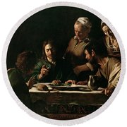 Supper At Emmaus Round Beach Towel