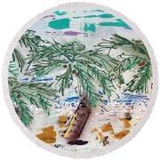 Surf And Palms Round Beach Towel
