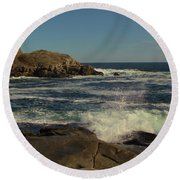 Surf At Nubble Light Round Beach Towel