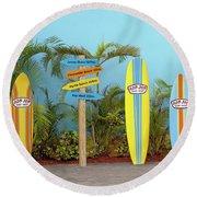 Surf Boards At Ron Jon's Round Beach Towel