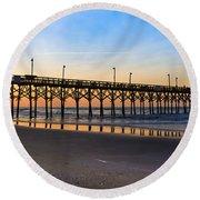 Surf City Fishing Pier Round Beach Towel