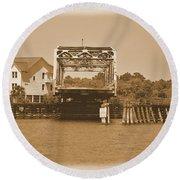 Surf City Vintage Swing Bridge In Sepia 1 Round Beach Towel