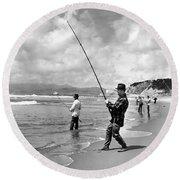 Surf Fishing At Ocean Beach Round Beach Towel