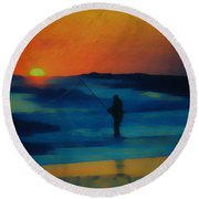 Surf Fishing Round Beach Towel