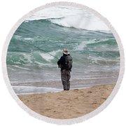 Surf Fishing Round Beach Towel