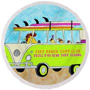 Surf School Round Beach Towel