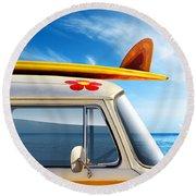 Surf Van Round Beach Towel by Carlos Caetano