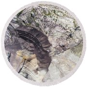 Surface Coal Mining In Poland. Destroyed Land. View From Above.  Round Beach Towel