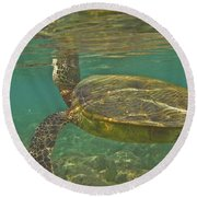 Surfacing Seaturtle Round Beach Towel