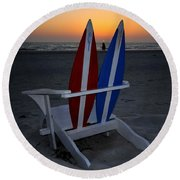 Surfboard Chair Sunset Round Beach Towel