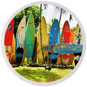 Surfboard Fence II-the Amazing Race Round Beach Towel