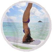 Surfboard Headstand Round Beach Towel