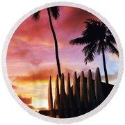 Surfboard Sunset Round Beach Towel
