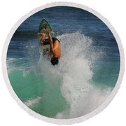 Surfer Action Hawaii Round Beach Towel
