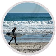 Surfer And His Board Round Beach Towel