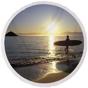 Surfer At Sunrise Round Beach Towel