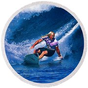 Surfer Dude Catching A Wave Round Beach Towel