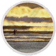 Surfer Faces Wind And Waves, Morro Bay, Ca Round Beach Towel