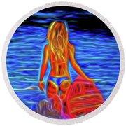 Surfer Girl 13218 Round Beach Towel