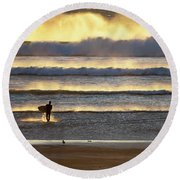 Surfer Heads Into The Waves And Mist Round Beach Towel