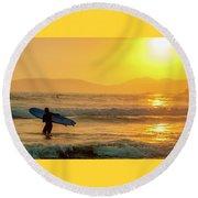 Surfer In The Golden Ocean Round Beach Towel