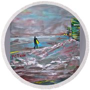 Surfer On A Foggy Day Round Beach Towel