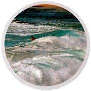 Surfer On Surf, Sunset Beach Round Beach Towel