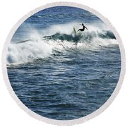 Surfer Riding A Wave Round Beach Towel