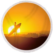Surfer Silhouetted At Sun Round Beach Towel