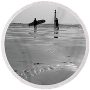 Surfer Silhouettes Round Beach Towel