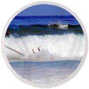 Surfers At Asilomar State Beach Three Oopsy Daisy Round Beach Towel