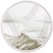 Surfers In Ocean Mist Round Beach Towel