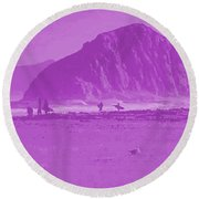Surfers On Morro Rock Beach In Purple Round Beach Towel