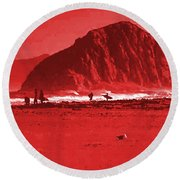 Surfers On Morro Rock Beach In Red Round Beach Towel