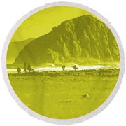 Surfers On Morro Rock Beach In Yellow Round Beach Towel