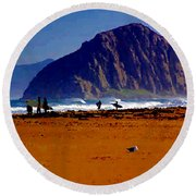 Surfers On Morro Rock Beach Round Beach Towel