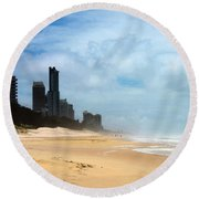 Surfers Paradise On A Stormy Day Round Beach Towel