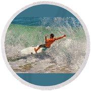 Surfing Action  Round Beach Towel