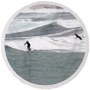 Surfing At Sennen Cove Cornwall Round Beach Towel