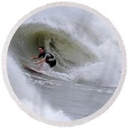 Surfing Bogue Banks 1 Round Beach Towel