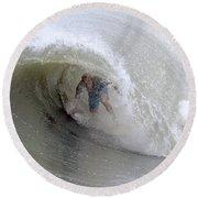 Surfing Bogue Banks 4 Round Beach Towel