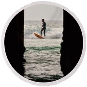Surfing By The Pier Round Beach Towel